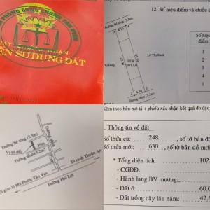 Bán nhà đất 2 mặt tiền 102,6m2 thổ cư 60m2 sổ riêng tại Phú Lợi, thành phố Thủ Dầu Một gần đường ĐT 743 và đường Mỹ Phước Tân Vạn