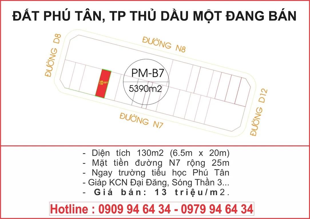 Lô PM-B7 thửa 149 tờ 84 đường N7 khu TĐC Phú Mỹ hướng Tây Nam thuộc khu liên hợp Thành Phố Mới Bình Dương giá 13 triệu/m2